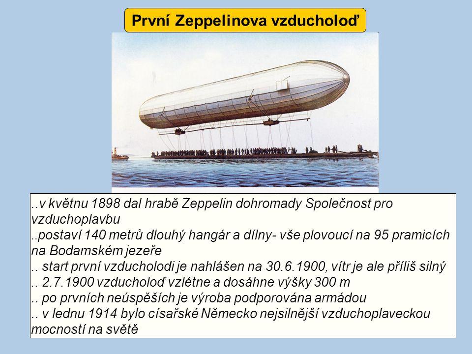 ..v květnu 1898 dal hrabě Zeppelin dohromady Společnost pro vzduchoplavbu.. postaví 140 metrů dlouhý hangár a dílny- vše plovoucí na 95 pramicích na B