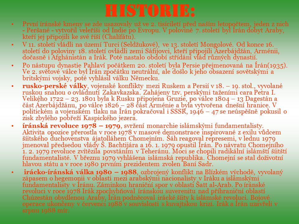 Svátky: Den Republiky, 1.4.(1979) Den Revoluce 11.2.(1979) Noruz (Nový rok), 21.3.