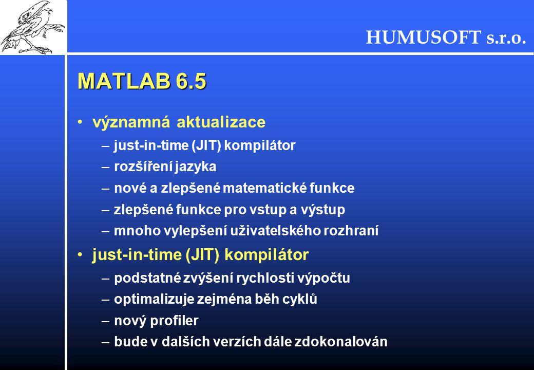HUMUSOFT s.r.o. MATLAB 6.5 významná aktualizace –just-in-time (JIT) kompilátor –rozšíření jazyka –nové a zlepšené matematické funkce –zlepšené funkce