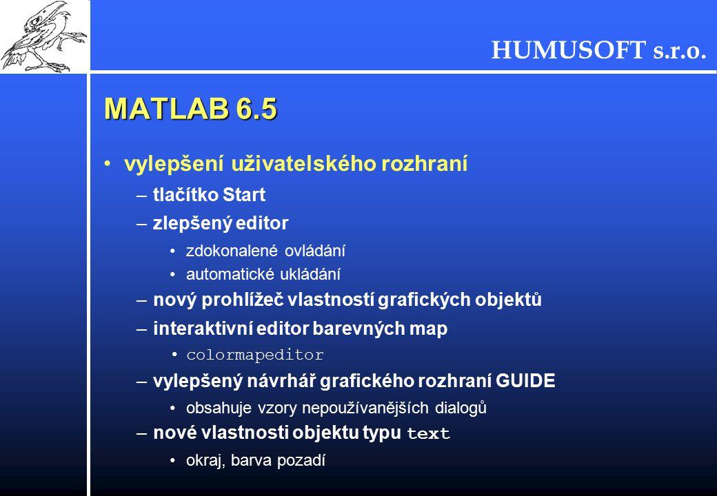 HUMUSOFT s.r.o. MATLAB 6.5 vylepšení uživatelského rozhraní –tlačítko Start –zlepšený editor zdokonalené ovládání automatické ukládání –nový prohlížeč