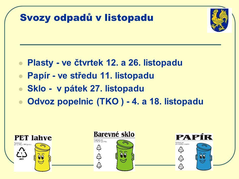 Svozy odpadů v listopadu Plasty - ve čtvrtek 12. a 26.
