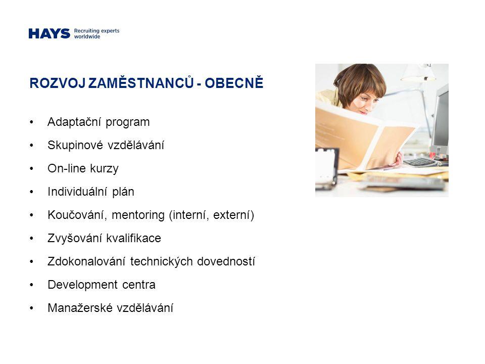 ROZVOJ ZAMĚSTNANCŮ - OBECNĚ Adaptační program Skupinové vzdělávání On-line kurzy Individuální plán Koučování, mentoring (interní, externí) Zvyšování k
