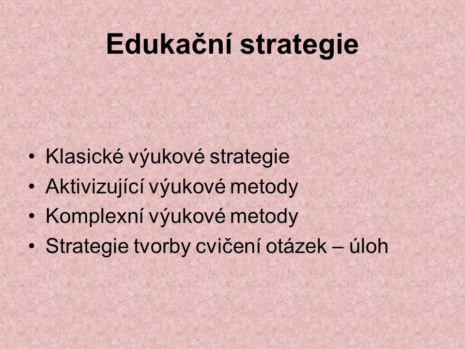 Edukační strategie Klasické výukové strategie Aktivizující výukové metody Komplexní výukové metody Strategie tvorby cvičení otázek – úloh
