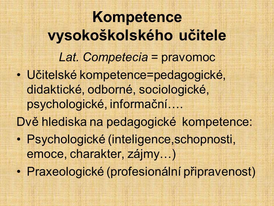 Kompetence vysokoškolského učitele Lat.