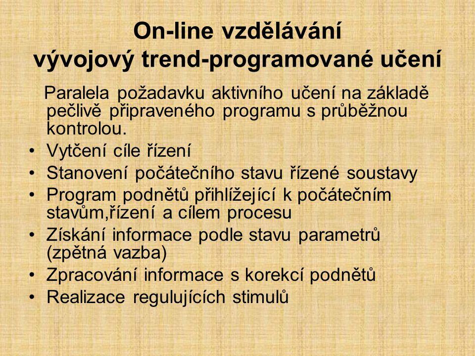 On-line vzdělávání vývojový trend-programované učení Paralela požadavku aktivního učení na základě pečlivě připraveného programu s průběžnou kontrolou.