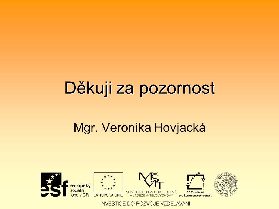 Děkuji za pozornost Mgr. Veronika Hovjacká