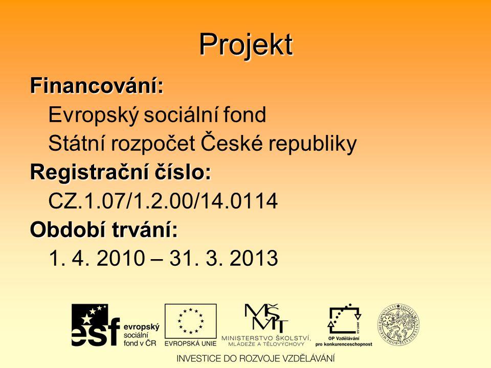 Projekt Financování: Evropský sociální fond Státní rozpočet České republiky Registrační číslo: CZ.1.07/1.2.00/14.0114 Období trvání: 1.
