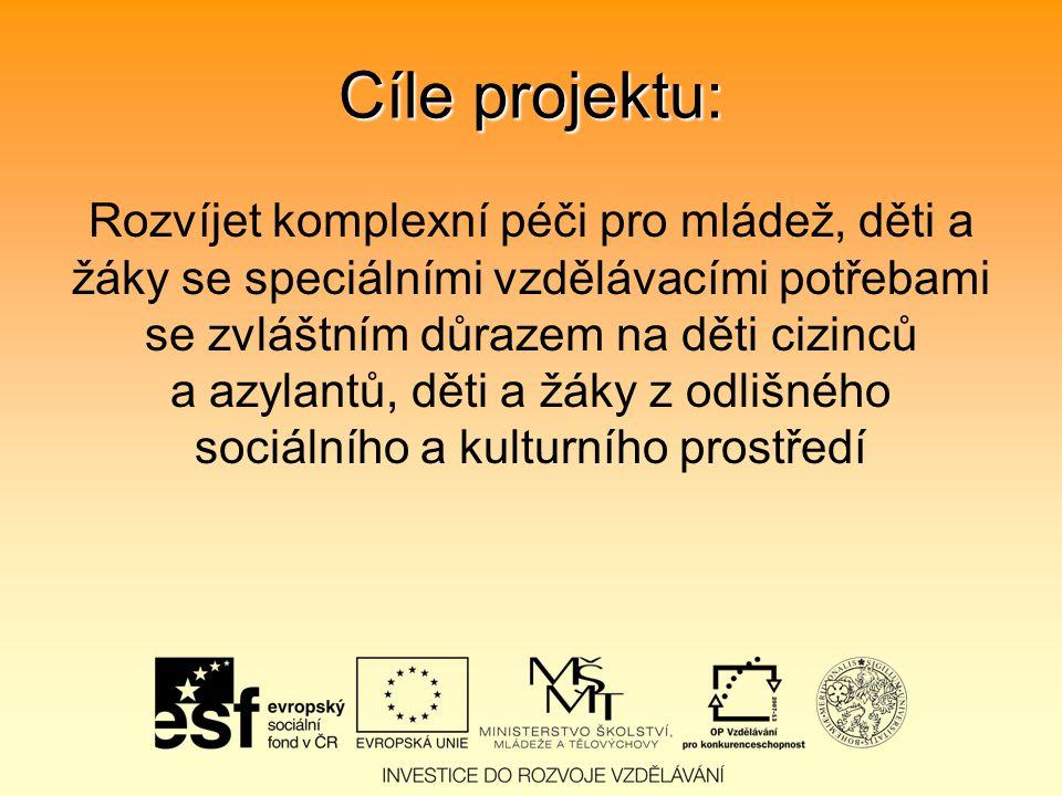 Cíle projektu: Rozvíjet komplexní péči pro mládež, děti a žáky se speciálními vzdělávacími potřebami se zvláštním důrazem na děti cizinců a azylantů, děti a žáky z odlišného sociálního a kulturního prostředí