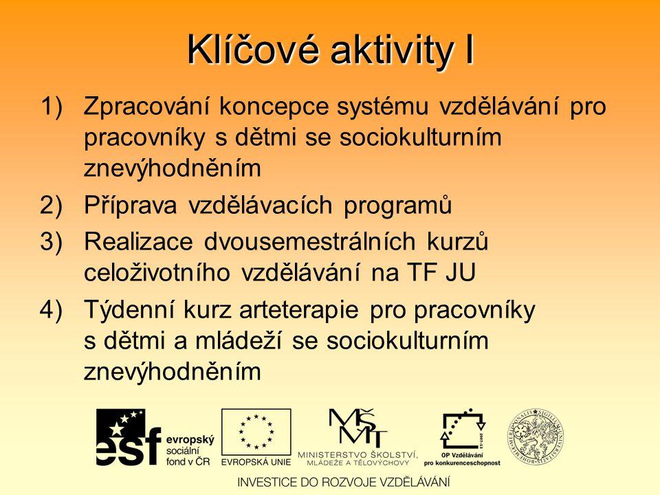 Klíčové aktivity I 1)Zpracování koncepce systému vzdělávání pro pracovníky s dětmi se sociokulturním znevýhodněním 2)Příprava vzdělávacích programů 3)Realizace dvousemestrálních kurzů celoživotního vzdělávání na TF JU 4)Týdenní kurz arteterapie pro pracovníky s dětmi a mládeží se sociokulturním znevýhodněním