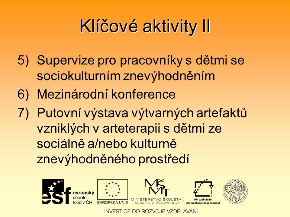 Klíčové aktivity II 5)Supervize pro pracovníky s dětmi se sociokulturním znevýhodněním 6)Mezinárodní konference 7)Putovní výstava výtvarných artefaktů vzniklých v arteterapii s dětmi ze sociálně a/nebo kulturně znevýhodněného prostředí