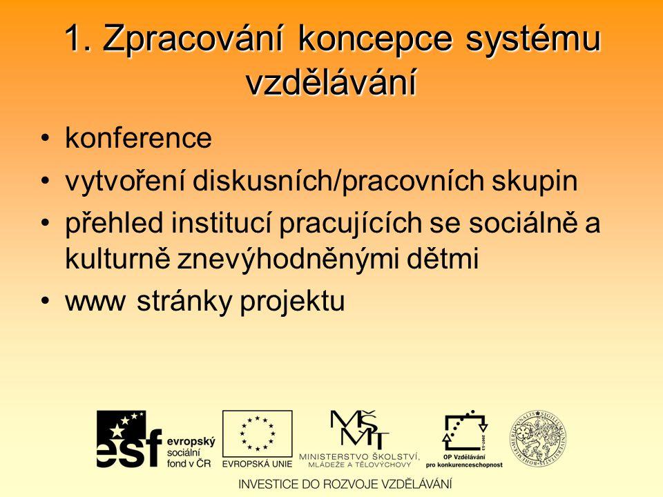 1. Zpracování koncepce systému vzdělávání konference vytvoření diskusních/pracovních skupin přehled institucí pracujících se sociálně a kulturně znevý