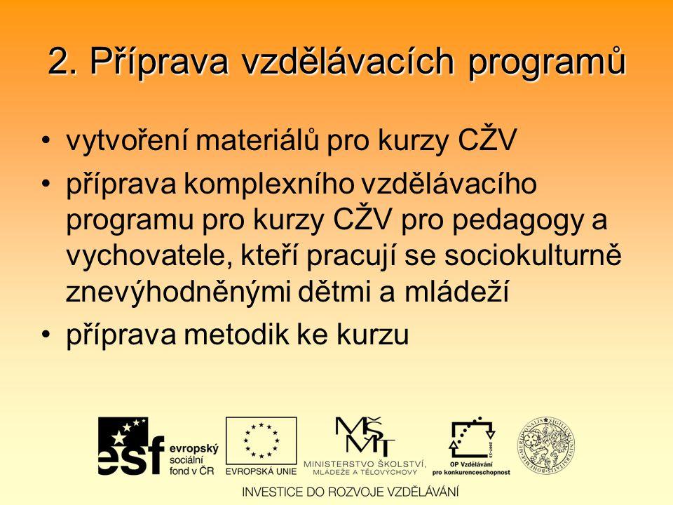 2. Příprava vzdělávacích programů vytvoření materiálů pro kurzy CŽV příprava komplexního vzdělávacího programu pro kurzy CŽV pro pedagogy a vychovatel