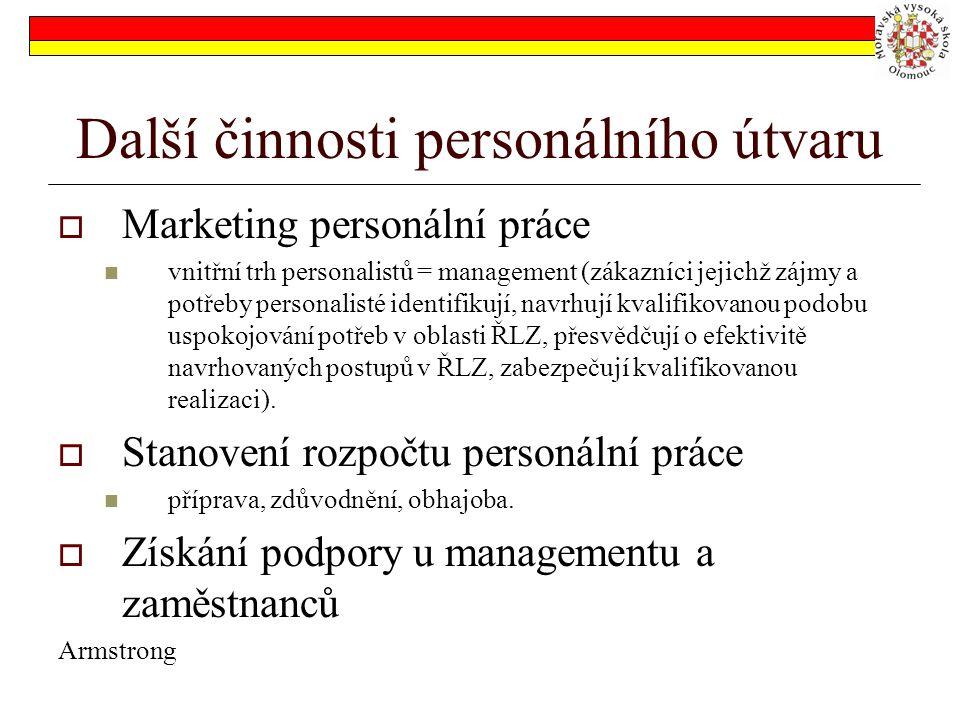 Další činnosti personálního útvaru  Marketing personální práce vnitřní trh personalistů = management (zákazníci jejichž zájmy a potřeby personalisté identifikují, navrhují kvalifikovanou podobu uspokojování potřeb v oblasti ŘLZ, přesvědčují o efektivitě navrhovaných postupů v ŘLZ, zabezpečují kvalifikovanou realizaci).