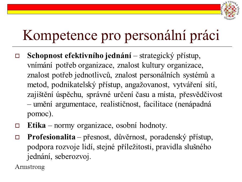 Kompetence pro personální práci  Schopnost efektivního jednání – strategický přístup, vnímání potřeb organizace, znalost kultury organizace, znalost potřeb jednotlivců, znalost personálních systémů a metod, podnikatelský přístup, angažovanost, vytváření sítí, zajištění úspěchu, správné určení času a místa, přesvědčivost – umění argumentace, realističnost, facilitace (nenápadná pomoc).