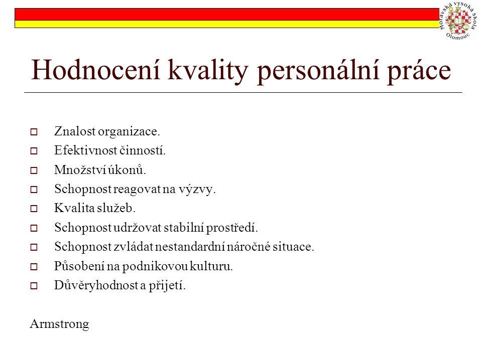 Hodnocení kvality personální práce  Znalost organizace.