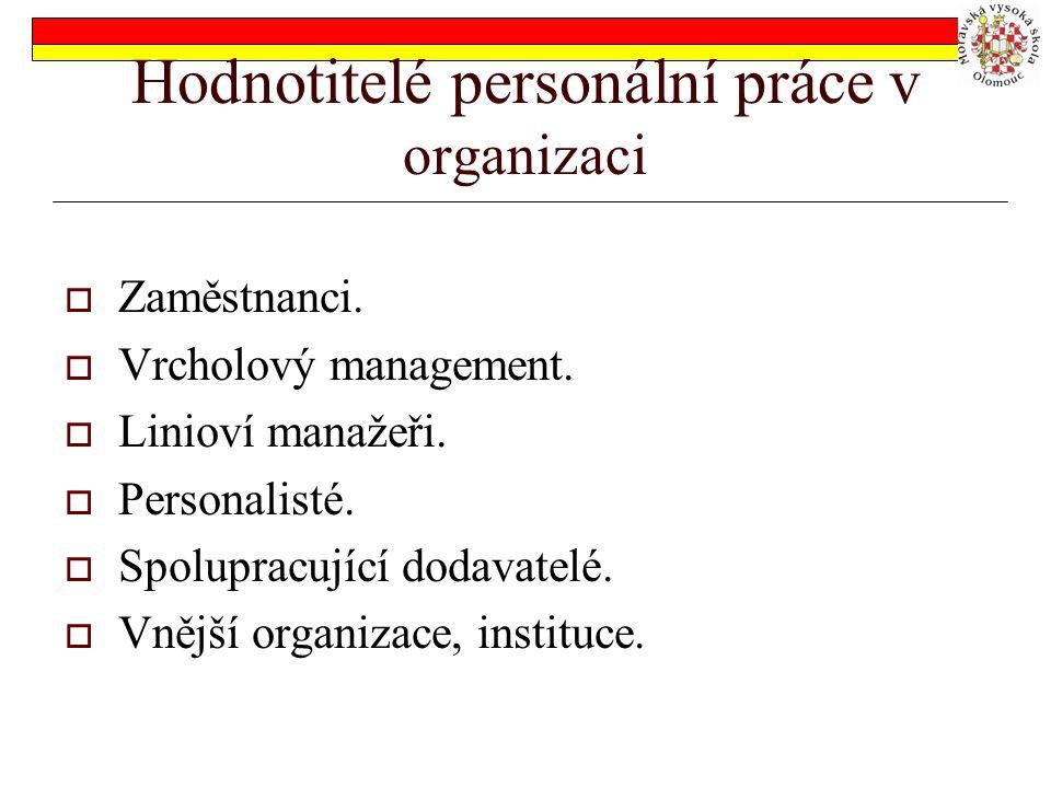 Hodnotitelé personální práce v organizaci  Zaměstnanci.