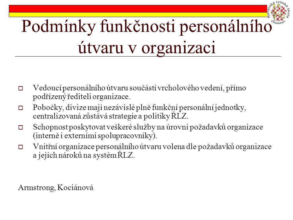 Podmínky funkčnosti personálního útvaru v organizaci  Vedoucí personálního útvaru součástí vrcholového vedení, přímo podřízený řediteli organizace.