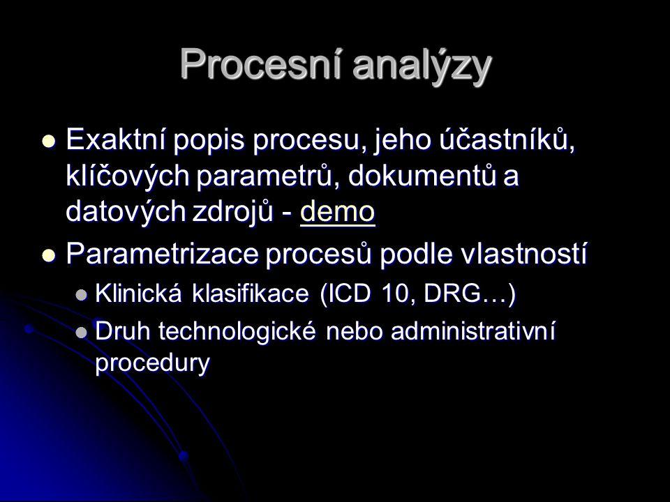 Procesní analýzy Exaktní popis procesu, jeho účastníků, klíčových parametrů, dokumentů a datových zdrojů - demo Exaktní popis procesu, jeho účastníků, klíčových parametrů, dokumentů a datových zdrojů - demodemo Parametrizace procesů podle vlastností Parametrizace procesů podle vlastností Klinická klasifikace (ICD 10, DRG…) Klinická klasifikace (ICD 10, DRG…) Druh technologické nebo administrativní procedury Druh technologické nebo administrativní procedury
