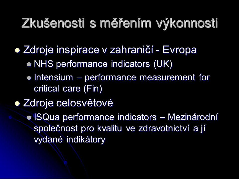 Zkušenosti s měřením výkonnosti Zdroje inspirace v zahraničí - Evropa Zdroje inspirace v zahraničí - Evropa NHS performance indicators (UK) NHS perfor
