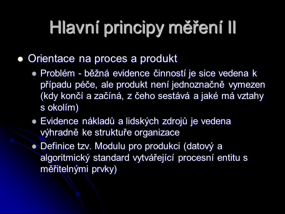 Hlavní principy měření II Orientace na proces a produkt Orientace na proces a produkt Problém - běžná evidence činností je sice vedena k případu péče, ale produkt není jednoznačně vymezen (kdy končí a začíná, z čeho sestává a jaké má vztahy s okolím) Problém - běžná evidence činností je sice vedena k případu péče, ale produkt není jednoznačně vymezen (kdy končí a začíná, z čeho sestává a jaké má vztahy s okolím) Evidence nákladů a lidských zdrojů je vedena výhradně ke struktuře organizace Evidence nákladů a lidských zdrojů je vedena výhradně ke struktuře organizace Definice tzv.