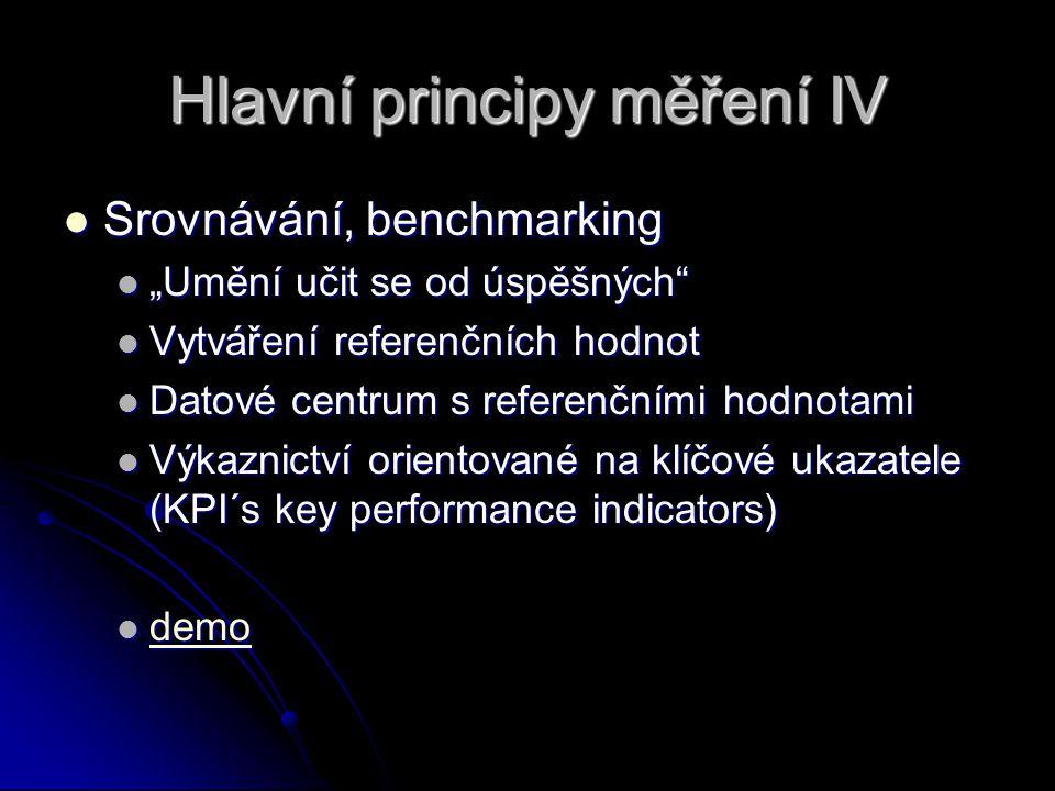 """Hlavní principy měření IV Srovnávání, benchmarking Srovnávání, benchmarking """"Umění učit se od úspěšných """"Umění učit se od úspěšných Vytváření referenčních hodnot Vytváření referenčních hodnot Datové centrum s referenčními hodnotami Datové centrum s referenčními hodnotami Výkaznictví orientované na klíčové ukazatele (KPI´s key performance indicators) Výkaznictví orientované na klíčové ukazatele (KPI´s key performance indicators) demo demo demo"""
