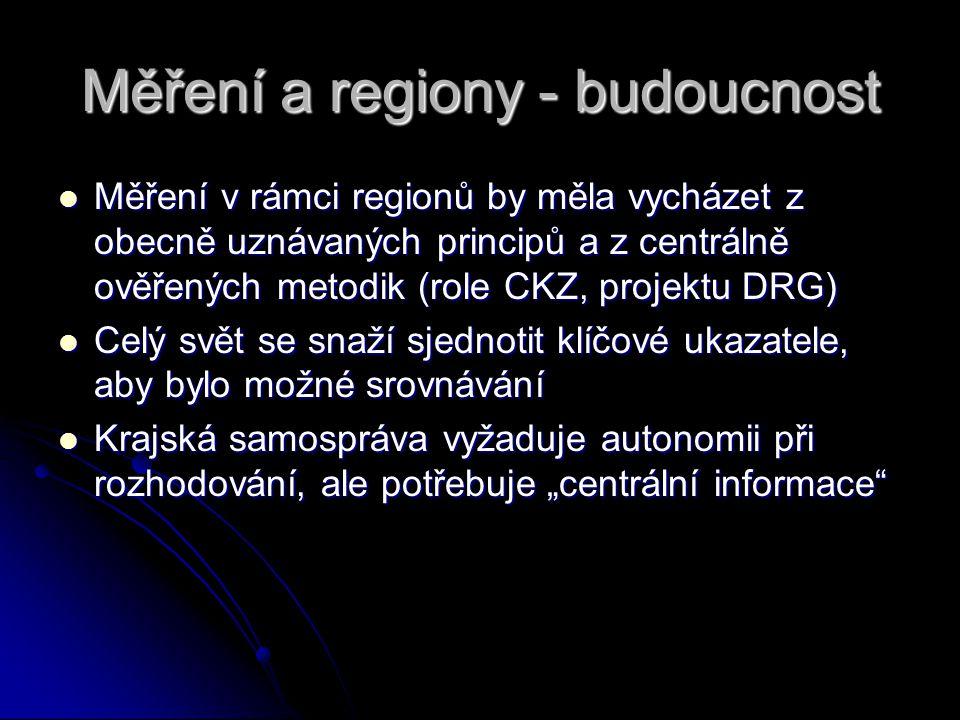 """Měření a regiony - budoucnost Měření v rámci regionů by měla vycházet z obecně uznávaných principů a z centrálně ověřených metodik (role CKZ, projektu DRG) Měření v rámci regionů by měla vycházet z obecně uznávaných principů a z centrálně ověřených metodik (role CKZ, projektu DRG) Celý svět se snaží sjednotit klíčové ukazatele, aby bylo možné srovnávání Celý svět se snaží sjednotit klíčové ukazatele, aby bylo možné srovnávání Krajská samospráva vyžaduje autonomii při rozhodování, ale potřebuje """"centrální informace Krajská samospráva vyžaduje autonomii při rozhodování, ale potřebuje """"centrální informace"""