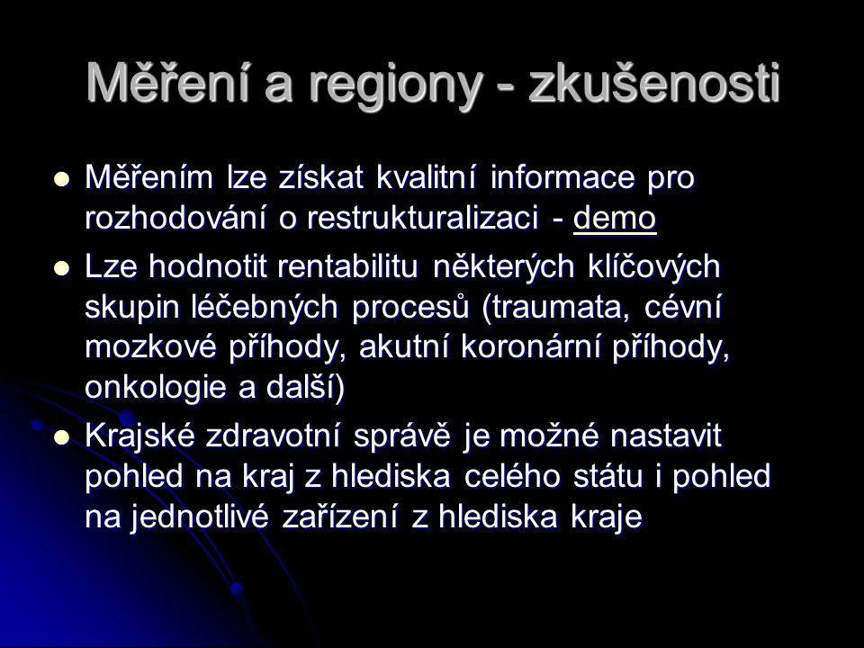 Měření a regiony - zkušenosti Měřením lze získat kvalitní informace pro rozhodování o restrukturalizaci - demo Měřením lze získat kvalitní informace p