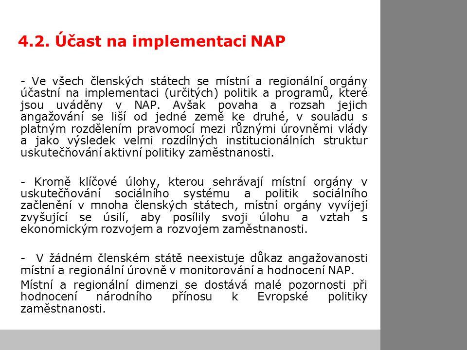 4.2. Účast na implementaci NAP - Ve všech členských státech se místní a regionální orgány účastní na implementaci (určitých) politik a programů, které