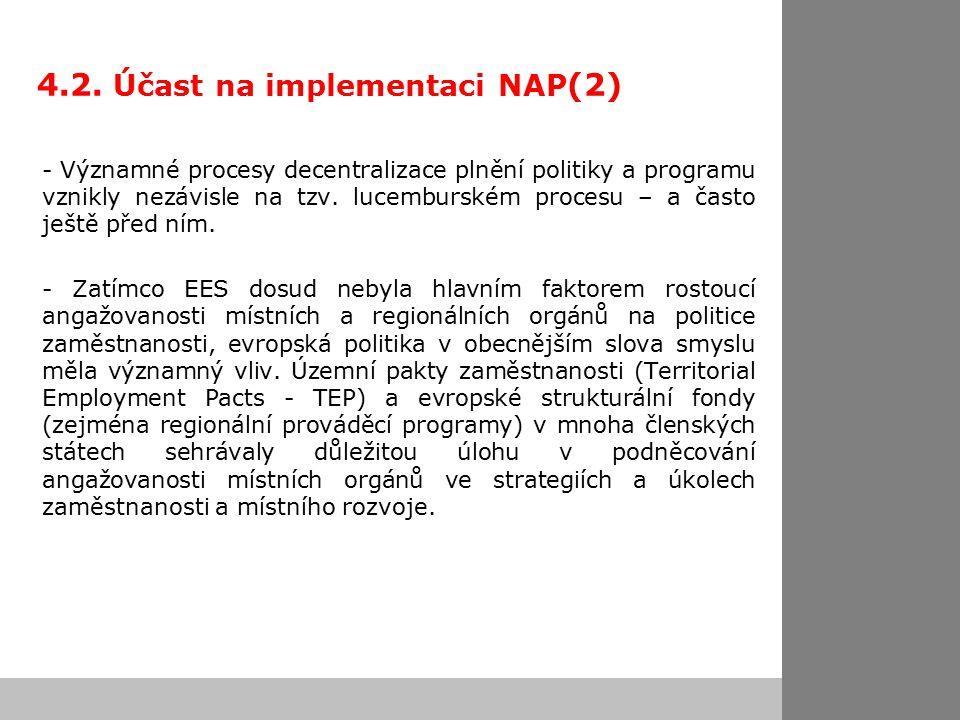4.2. Účast na implementaci NAP (2) - Významné procesy decentralizace plnění politiky a programu vznikly nezávisle na tzv. lucemburském procesu – a čas