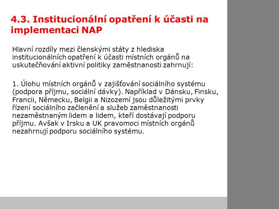 4.3. Institucionální opatření k účasti na implementaci NAP Hlavní rozdíly mezi členskými státy z hlediska institucionálních opatření k účasti místních