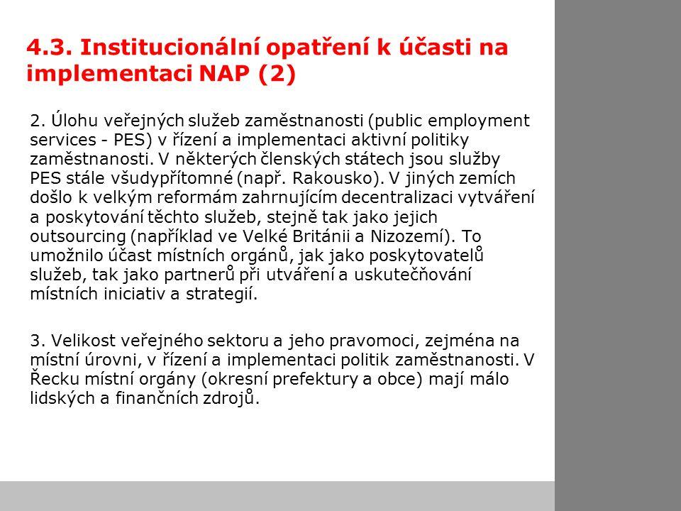 4.3. Institucionální opatření k účasti na implementaci NAP (2) 2.