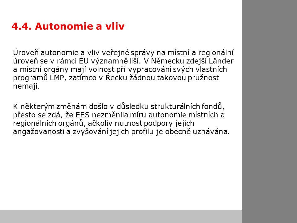 4.4. Autonomie a vliv Úroveň autonomie a vliv veřejné správy na místní a regionální úroveň se v rámci EU významně liší. V Německu zdejší Länder a míst