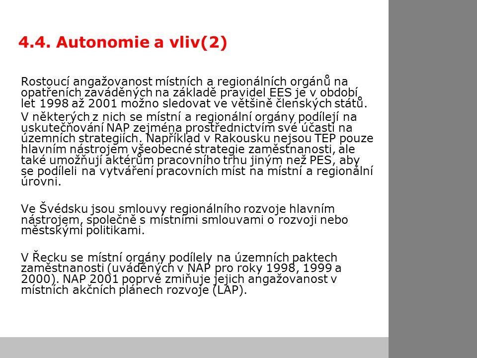 4.4. Autonomie a vliv(2) Rostoucí angažovanost místních a regionálních orgánů na opatřeních zaváděných na základě pravidel EES je v období let 1998 až