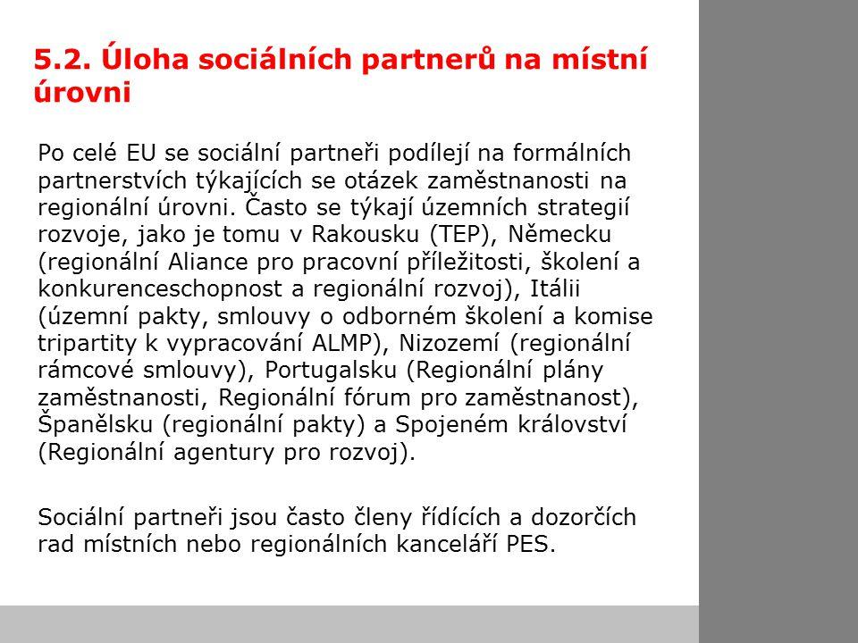 5.2. Úloha sociálních partnerů na místní úrovni Po celé EU se sociální partneři podílejí na formálních partnerstvích týkajících se otázek zaměstnanost