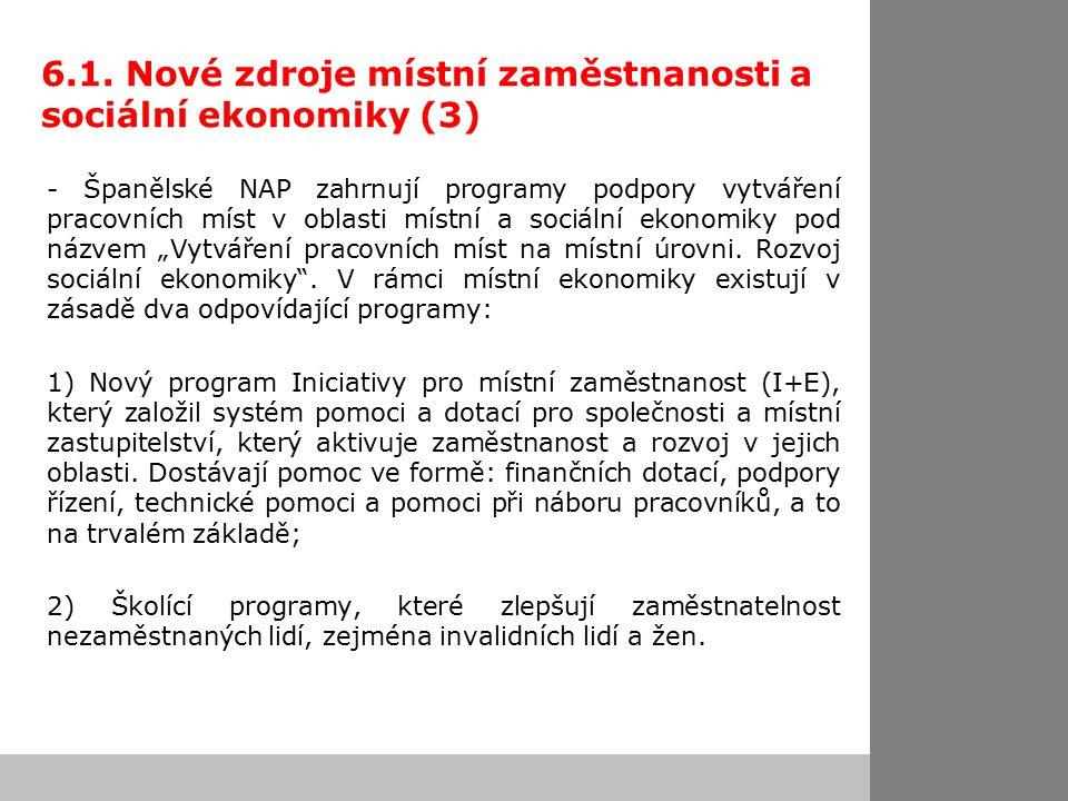 6.1. Nové zdroje místní zaměstnanosti a sociální ekonomiky (3) - Španělské NAP zahrnují programy podpory vytváření pracovních míst v oblasti místní a