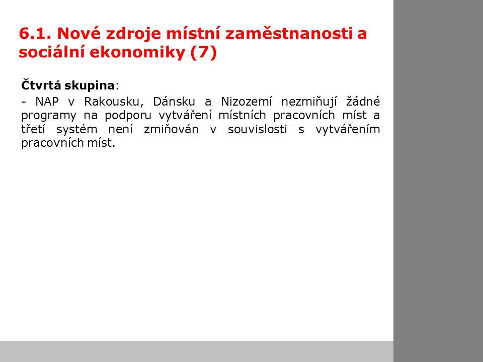 6.1. Nové zdroje místní zaměstnanosti a sociální ekonomiky (7) Čtvrtá skupina: - NAP v Rakousku, Dánsku a Nizozemí nezmiňují žádné programy na podporu