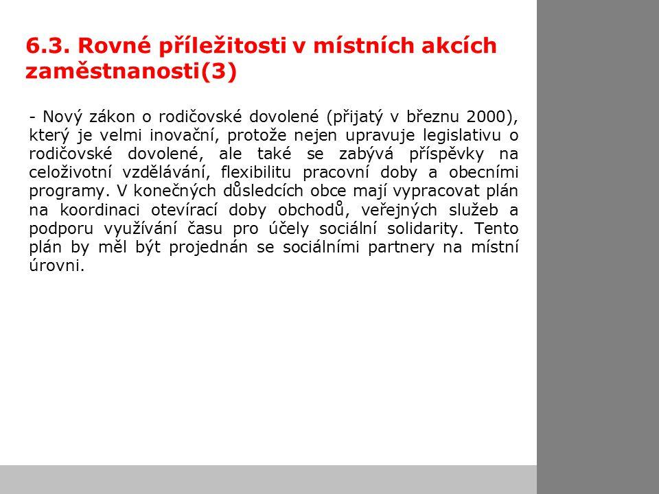 6.3. Rovné příležitosti v místních akcích zaměstnanosti(3) - Nový zákon o rodičovské dovolené (přijatý v březnu 2000), který je velmi inovační, protož