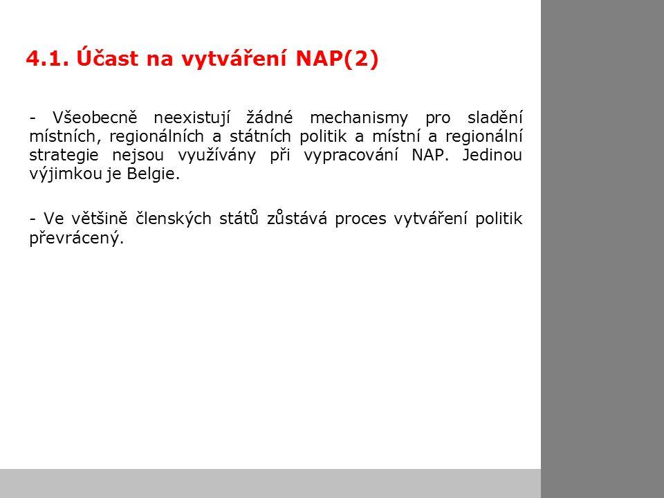 4.1. Účast na vytváření NAP(2) - Všeobecně neexistují žádné mechanismy pro sladění místních, regionálních a státních politik a místní a regionální str