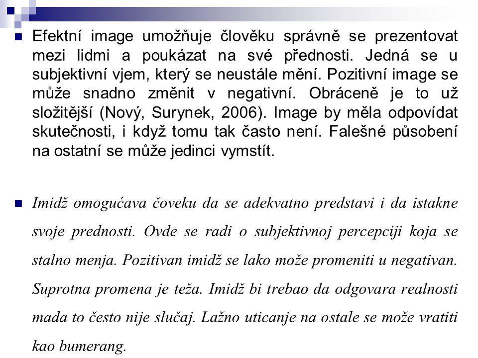 Efektní image umožňuje člověku správně se prezentovat mezi lidmi a poukázat na své přednosti. Jedná se u subjektivní vjem, který se neustále mění. Poz