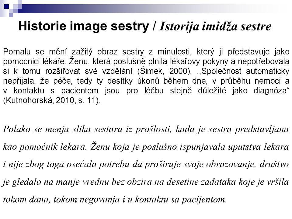 Historie image sestry / Istorija imidža sestre Pomalu se mění zažitý obraz sestry z minulosti, který ji představuje jako pomocnici lékaře. Ženu, která
