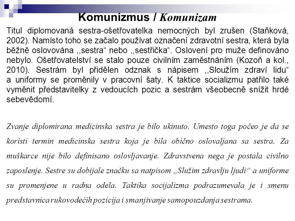 Komunizmus / Komunizam Titul diplomovaná sestra-ošetřovatelka nemocných byl zrušen (Staňková, 2002). Namísto toho se začalo používat označení zdravotn