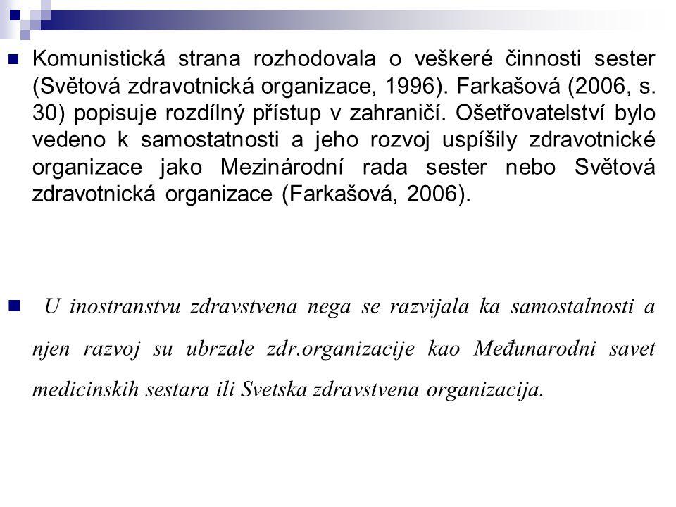 Komunistická strana rozhodovala o veškeré činnosti sester (Světová zdravotnická organizace, 1996). Farkašová (2006, s. 30) popisuje rozdílný přístup v