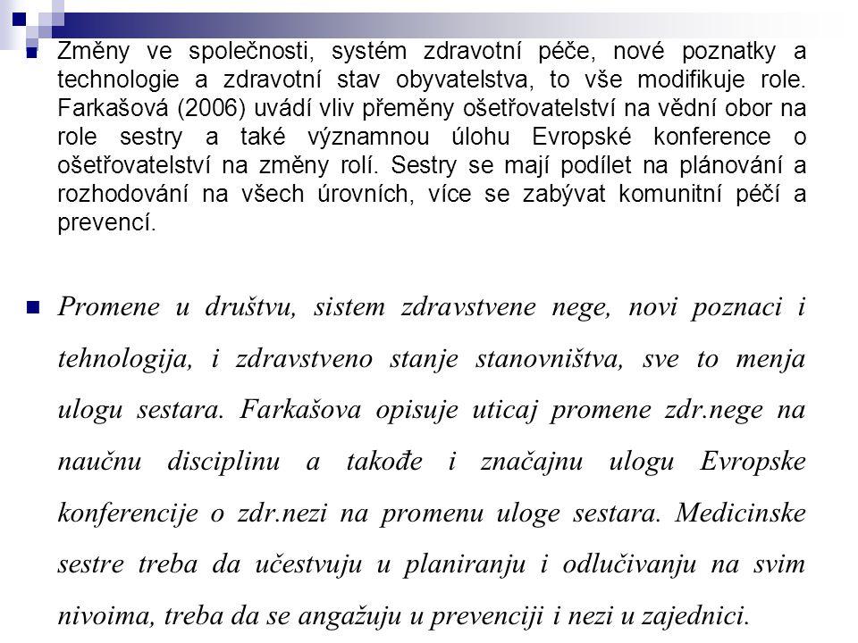 Změny ve společnosti, systém zdravotní péče, nové poznatky a technologie a zdravotní stav obyvatelstva, to vše modifikuje role. Farkašová (2006) uvádí