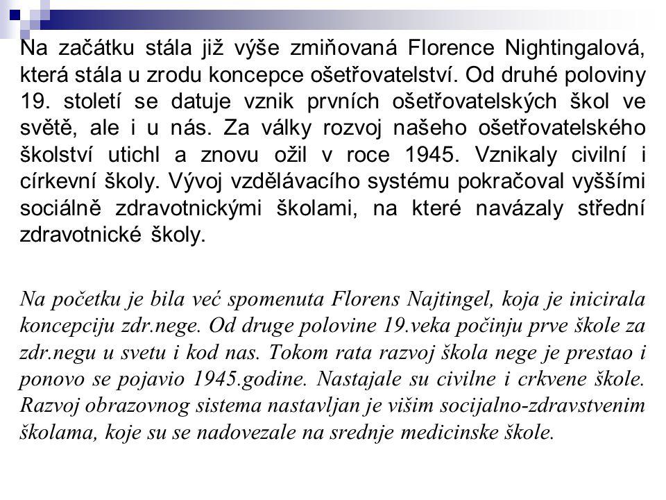 Na začátku stála již výše zmiňovaná Florence Nightingalová, která stála u zrodu koncepce ošetřovatelství. Od druhé poloviny 19. století se datuje vzni