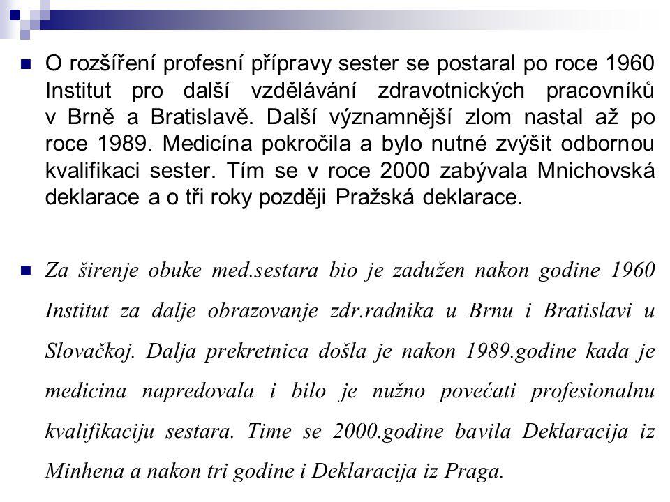 O rozšíření profesní přípravy sester se postaral po roce 1960 Institut pro další vzdělávání zdravotnických pracovníků v Brně a Bratislavě. Další význa