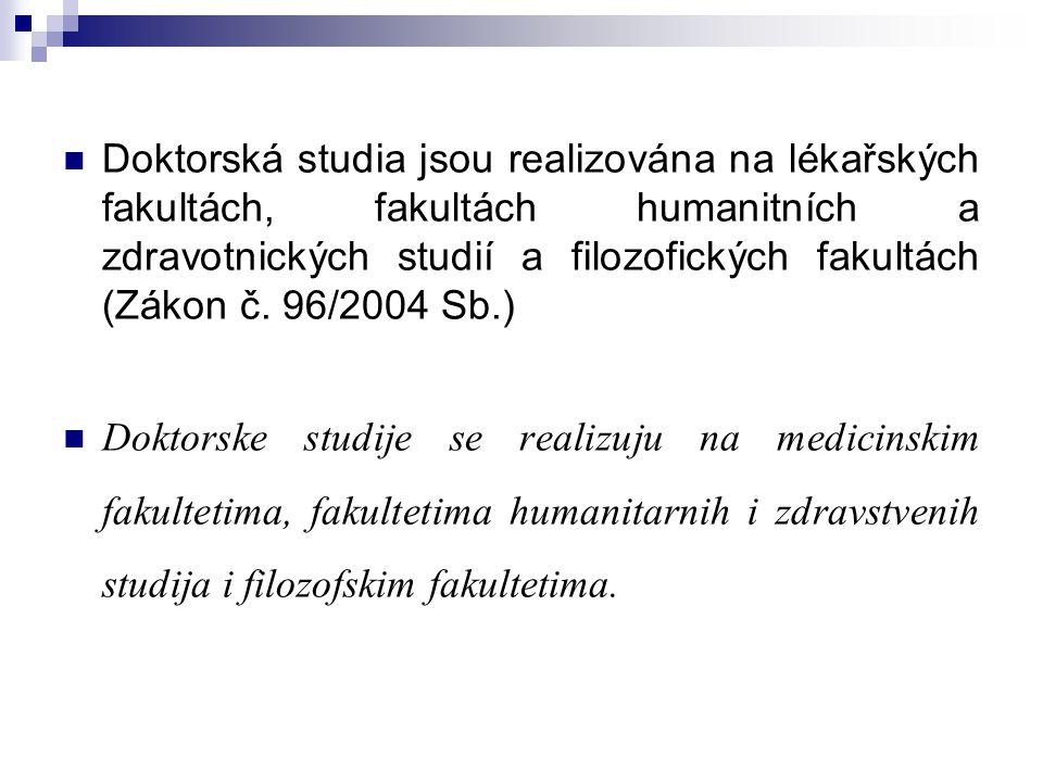 Doktorská studia jsou realizována na lékařských fakultách, fakultách humanitních a zdravotnických studií a filozofických fakultách (Zákon č. 96/2004 S