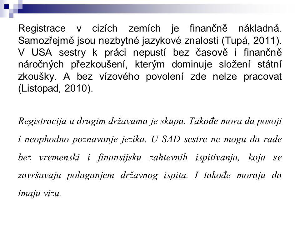 Registrace v cizích zemích je finančně nákladná. Samozřejmě jsou nezbytné jazykové znalosti (Tupá, 2011). V USA sestry k práci nepustí bez časově i fi