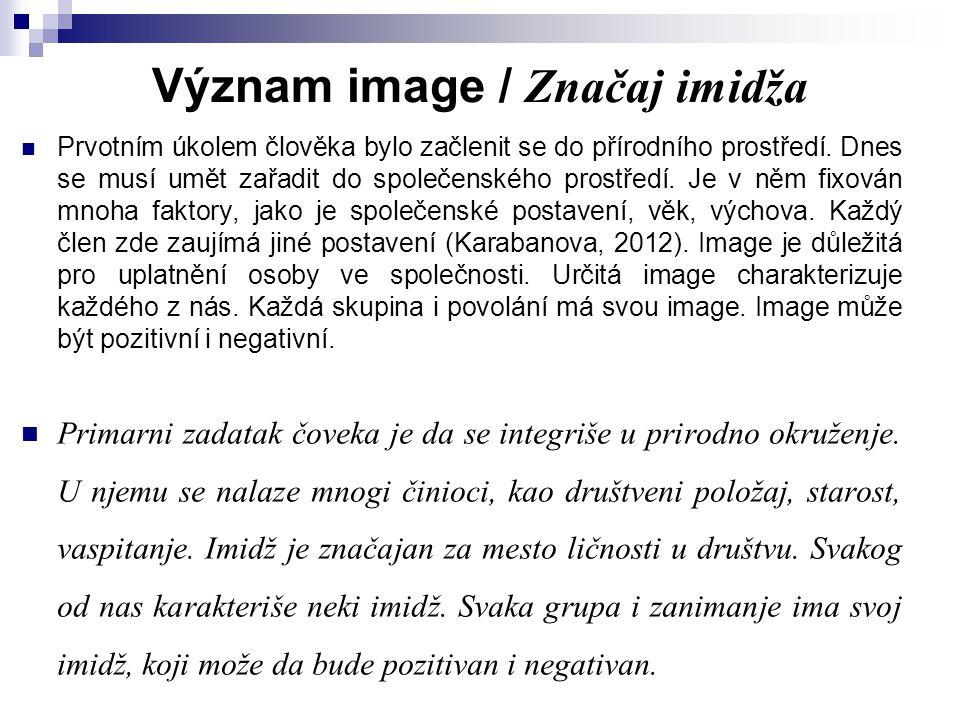 Význam image / Značaj imidža Prvotním úkolem člověka bylo začlenit se do přírodního prostředí. Dnes se musí umět zařadit do společenského prostředí. J