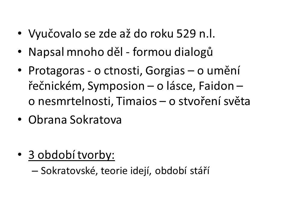 Vyučovalo se zde až do roku 529 n.l. Napsal mnoho děl - formou dialogů Protagoras - o ctnosti, Gorgias – o umění řečnickém, Symposion – o lásce, Faido
