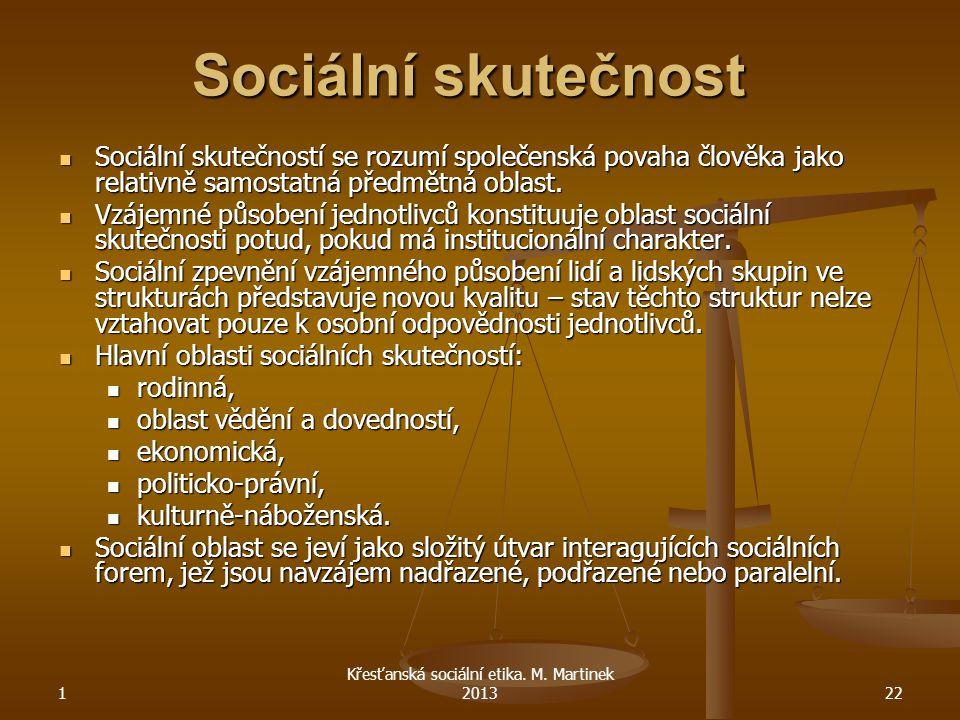1 Křesťanská sociální etika. M. Martinek 201322 Sociální skutečnost Sociální skutečností se rozumí společenská povaha člověka jako relativně samostatn
